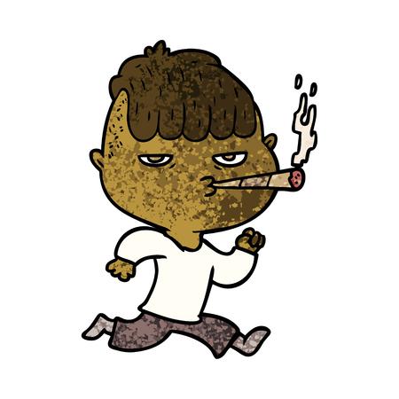 cartoon man smoking whilst running Stockfoto - 96556819