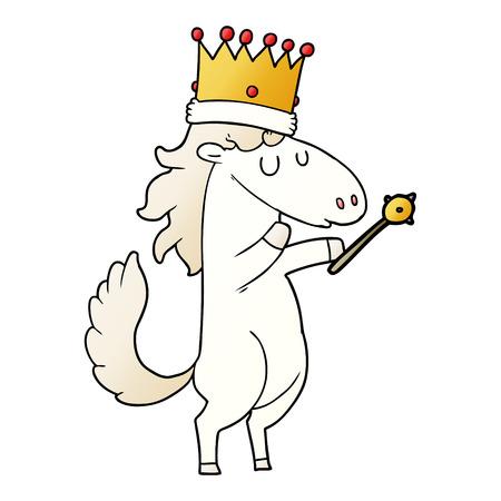 Beeldverhaalpaard die kroon dragen en een scepter houden