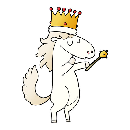 Cartoon horse wearing crown and holding a scepter