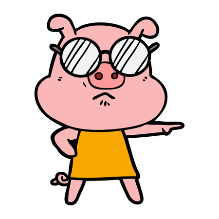 Cartoon angry pig wearing glasses Illustration