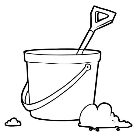 Cartoon bucket and spade illustration Stock Illustratie