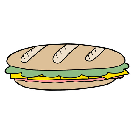 cartoon baguette sandwich