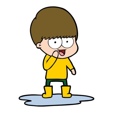 Happy cartoon boy splashing in water