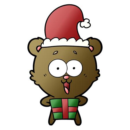 Happy Christmas teddy bear cartoon holding a present Illustration