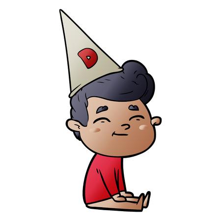 happy cartoon man sitting with dunce cap on head