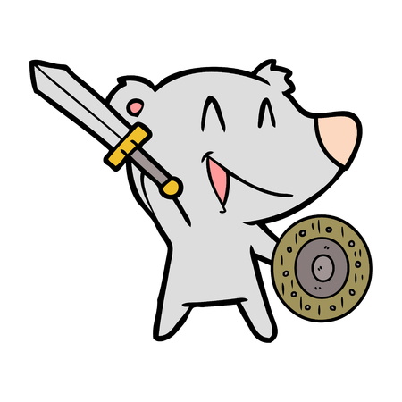 Happy bear cartoon with sword and shield