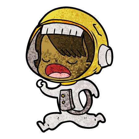 cartoon astronaut woman running Illustration