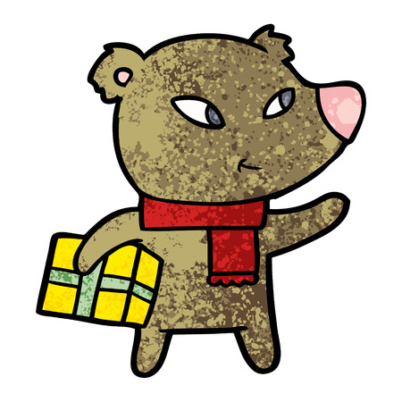 cute cartoon christmas bear Stock Illustratie