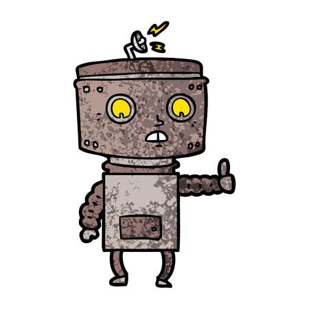 Cartoon robot giving a thumbs up