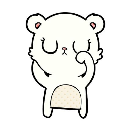 Polar bear cartoon with closed eyes