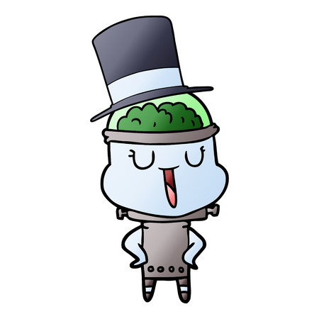 Happy cartoon robot wearing top hat