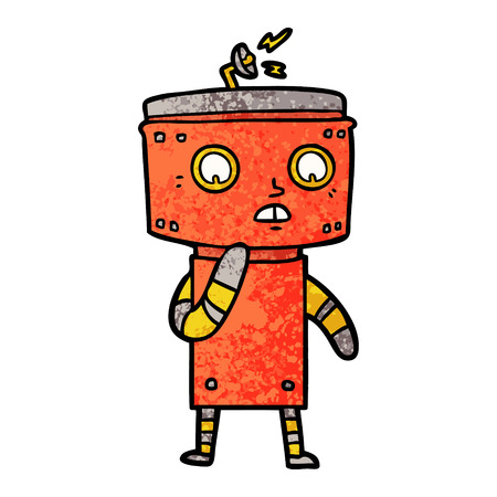 Onzekere cartoon robot Stock Illustratie