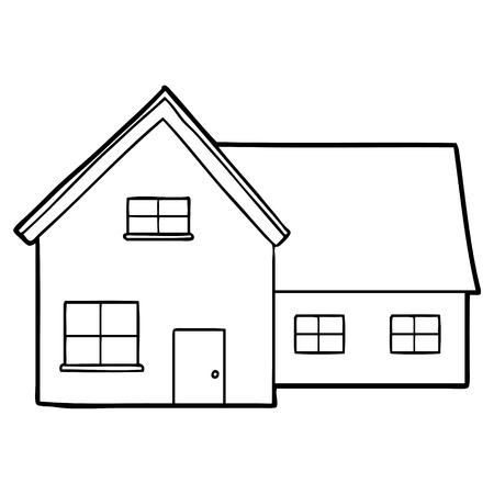 Karikaturhausillustration auf weißem Hintergrund.