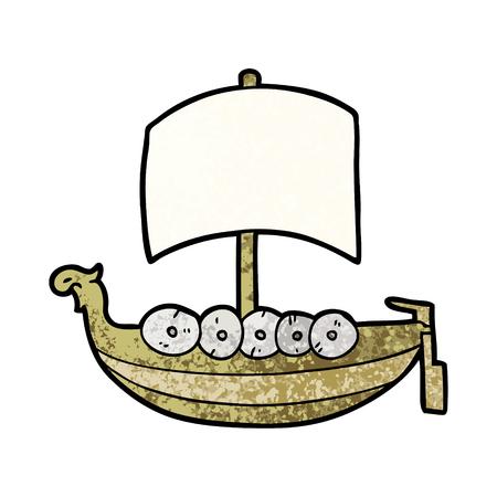 Cartoon Wikinger Boot Abbildung Standard-Bild - 96618531