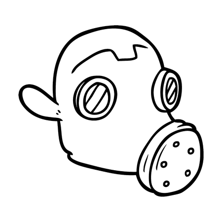 Cartoon gas mask illustration on white background. Illustration