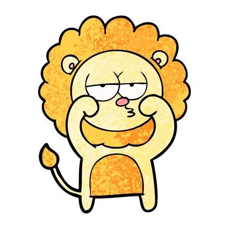 Cartoon bored lion illustration on white background.