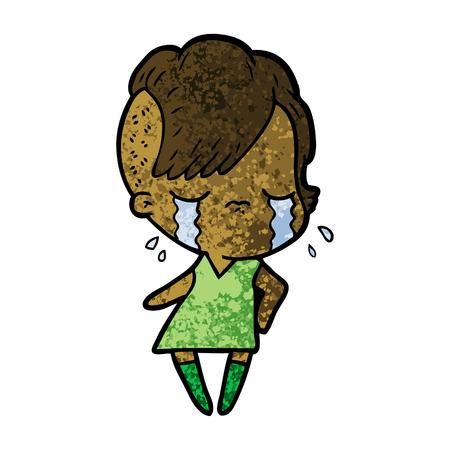 cartoon crying girl Иллюстрация