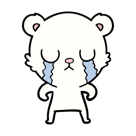 Crying little polar bear cartoon illustration on white background.