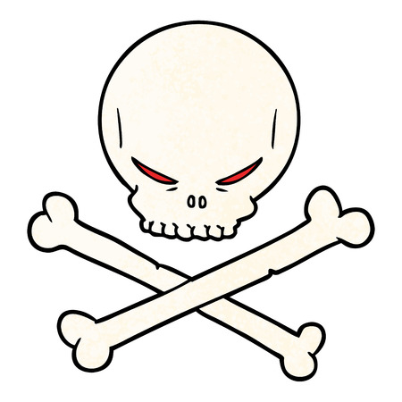 cartoon skull and crossbones illustration Illusztráció