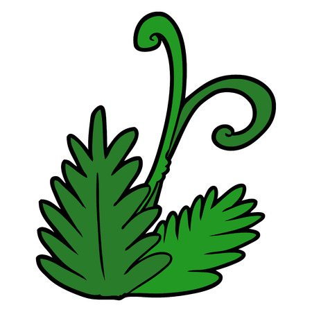 Cartoon leaf illustration on white background. Ilustracja