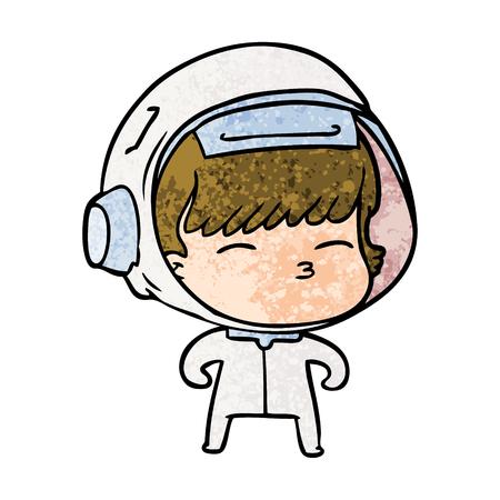 cartoon curious astronaut Illustration