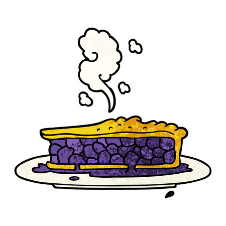 Cartoon blueberry pie illustration on white background.