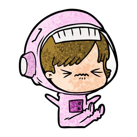 Cartoon astronaut woman pissed illustration on white background.