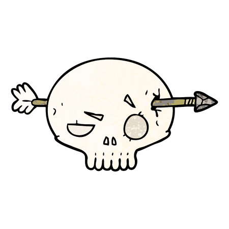 cartoon skull shot through by arrow