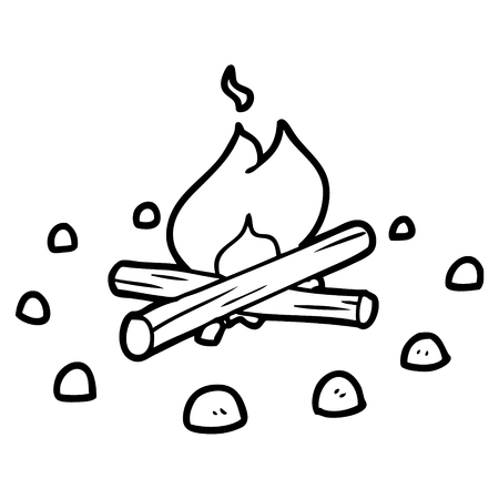 cartoon campfire 矢量图像