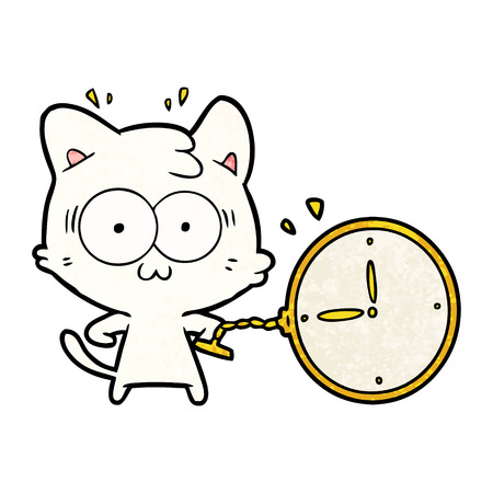 cartoon cat nervous about the time Illustration