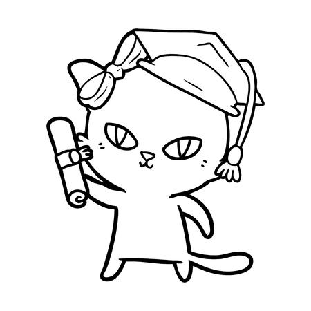 cute cartoon cat graduating