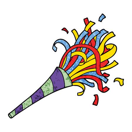 Cartoon party horn illustration on white background. Illustration