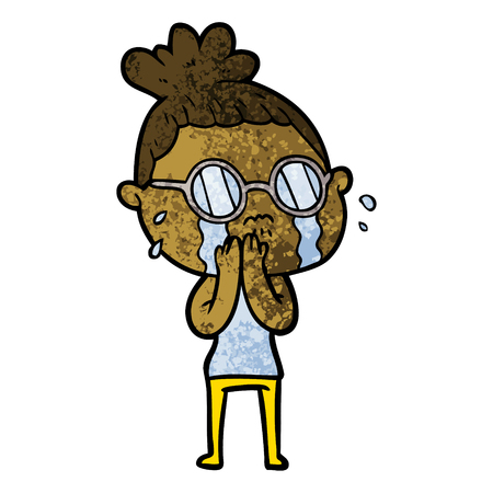 Cartoon crying woman wearing spectacles illustration on white background. Illustration
