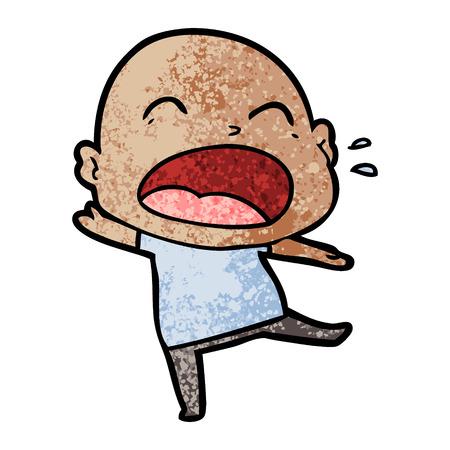 Cartoon shouting bald man illustration on white background. Stock fotó - 96669550