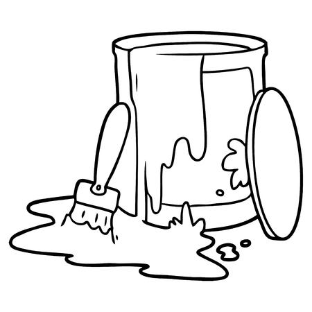 白い背景に漫画ペイントバケットイラスト。