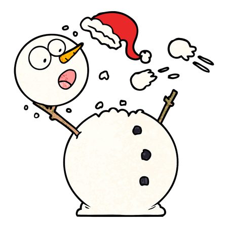Snowman in snowball fight illustration on white background.