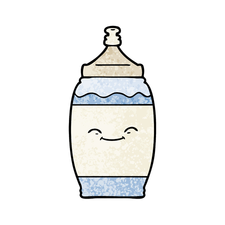 Cartoon happy water bottle illustration on white background.