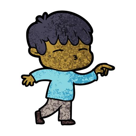 白い背景に漫画好奇心の少年のイラスト。