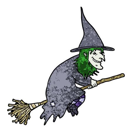 cartoon witch on broom