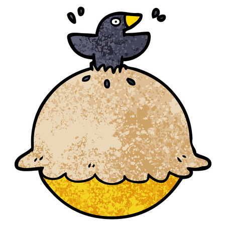cartoon blackbird in a pie Illustration