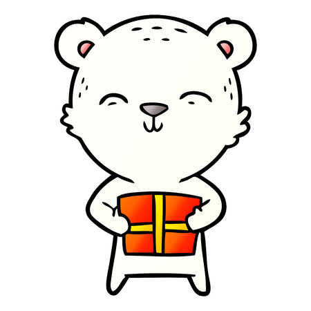 polar bear with christmas present cartoon