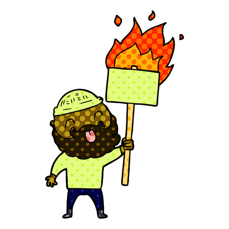 bearded protester cartoon with burning sign