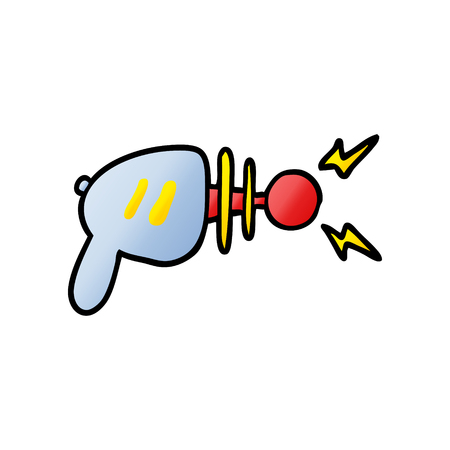 Cartoon ray gun illustration on white background.