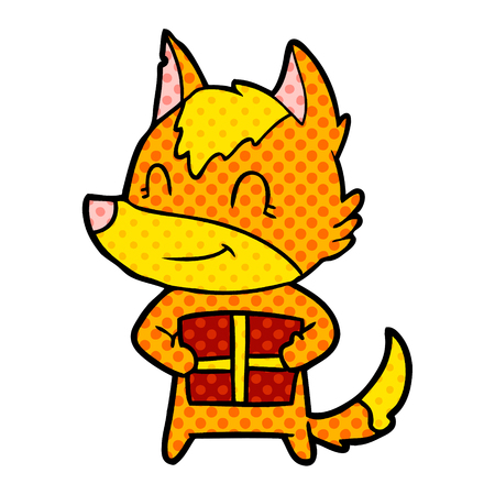 fox cartoon character with present Ilustrace