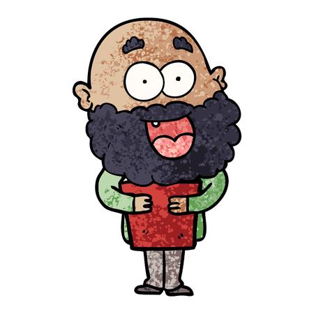 cartoon crazy happy man with beard and book Фото со стока - 96672950