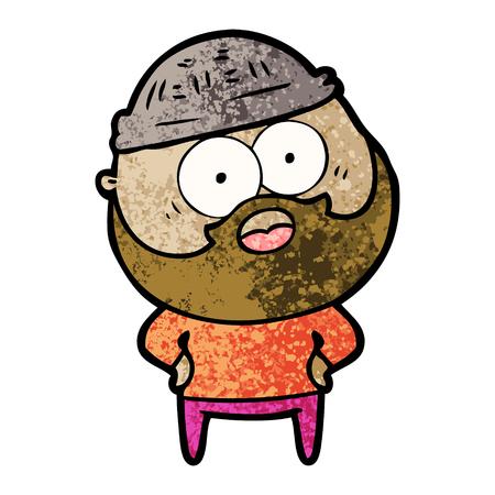Cartoon bearded man stun illustration on white background.
