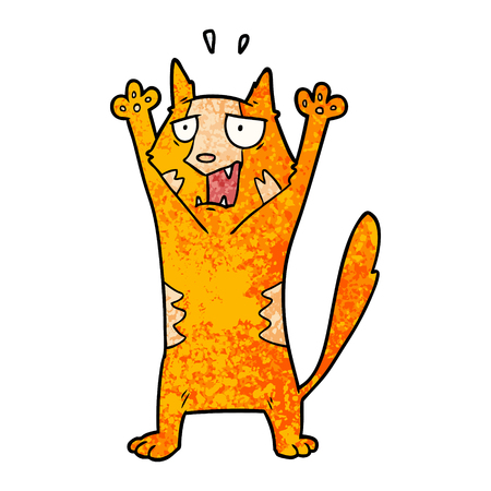 白い背景に漫画パニック猫のイラスト。  イラスト・ベクター素材