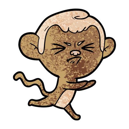 Cartoon annoyed monkey illustration on white background. Vettoriali