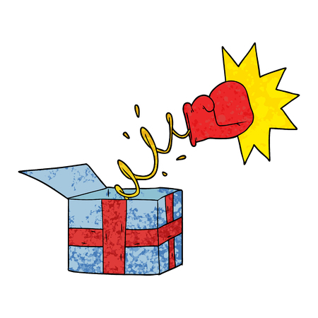 Trick present with boxing glove illustration on white background.