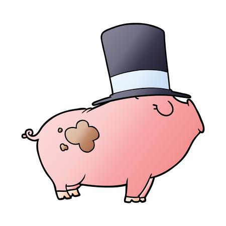 Cartoon rich pig with hat 向量圖像